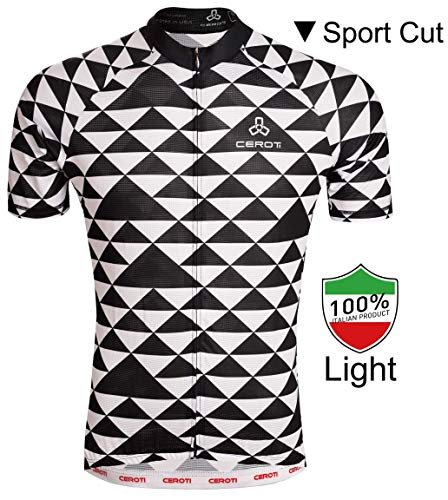 Ceroti   Custom Apparel Service   【PRO Level】 Men's Cool Summer Cycling Jersey, Wicking Bike Jersey with Italian PRO Fabric, Bicycle Shirt with 3 Rear Pockets, High Breathable & Fast Dry - Flow Bike Jersey
