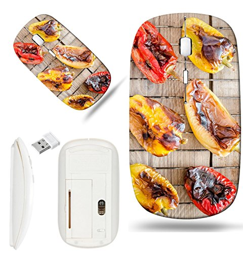 Luxlady Wireless Mouse White Base Travel 2.4G Wireless Mice with USB Receiver, 1000 DPI for notebook, pc, laptop, mac design IMAGE ID 31678188 grilled bell peppers