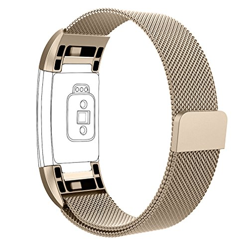 AK for Fitbit Charge 2 Bands, Adjustable Milanese Stainless Steel Metal Band Strap with Magnetic Closure Clasp for Fit bit Charge 2 HR Fitness Tracker