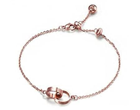 findout. high quality. 14K rose gold plated titanium steel smooth bead anklet (f1287) G482zEmpqy