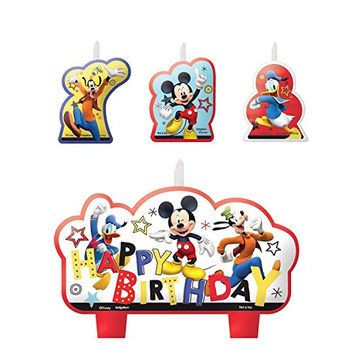 Amscan 013051762872 Mickey Mouse Party Supplies On The Go Candles, One Size, Multi-Colored