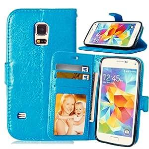 TOMYOU Funda de piel para Galaxy S5 mini G800, [Cable Libre] Premium en Dorado PU Cuero Funda Folio Carcasa, PU Billetera Folio Carcasa para Samsung Galaxy S5 mini G800 (azul)