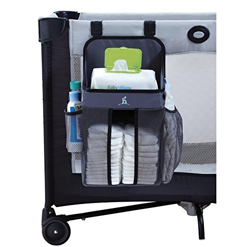 Infant Diaper Stacker (hiccapop Playard Nursery Organizer and Diapers Organizer | Baby Diaper Caddy | Universal Fit for Hanging on All Playards | Store Lotion, Wet Wipes and More)