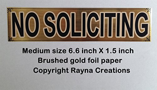 Brushed gold NO SOLICITING sign sticker for small business or home office, brass finish foil paper. Satisfaction or - Tracking Class International Mail First