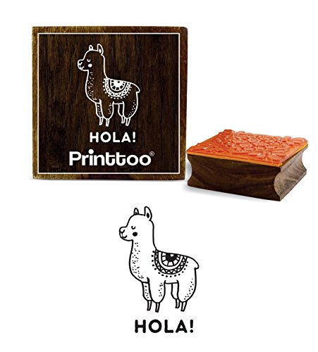 Printtoo Llama Animal & Hola Word Design Square Wooden Rubber Stamp Diary Card-2 x 2 inches