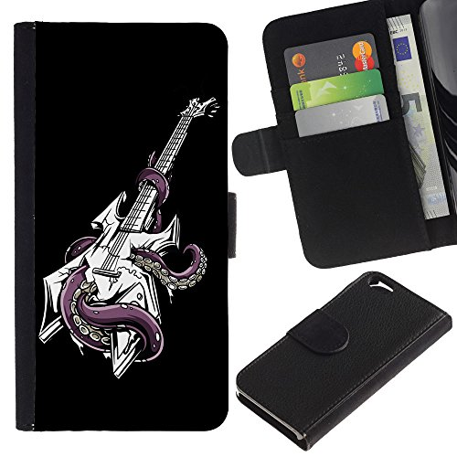 EuroCase - Apple Iphone 6 4.7 - Cool Octopus Guitar - Cuir PU Coverture Shell Armure Coque Coq Cas Etui Housse Case Cover