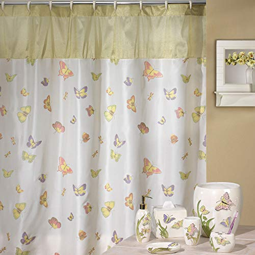 DS BATH Silk Butterfly Shower Curtain,Popular Shower Curtain,Fabric Shower Curtains for Bathroom,Contemporary Bathroom Curtains,Print Waterproof Polyester Shower Curtain,72