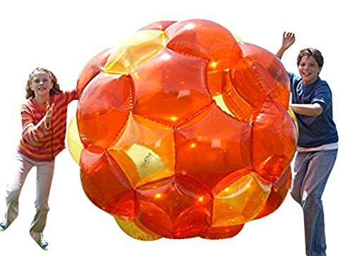 Orange and Yellow Incred-a-Ball GBOP Great Big Outdoor Play Inflatable Blow Up Bubble Soccer Zorb Ball Heavy Duty Durable PVC Vinyl - Ball Hamster Giant