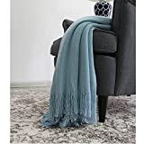 100%Cotton Smooth Soft Tassel Knitting Throw Blanket Home Sofa Bed Throw Export Europe,By Galaxytree ( Blue)