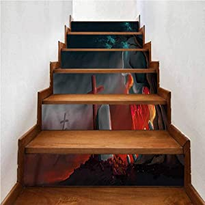 Stair Stickers Mural Removable Decals for Home Decor, Halloween Graveyard Cemetery Tree, Stairway Decals Family Decor Bedroom Home, W43.3 x H7.08 Inch x6PCS