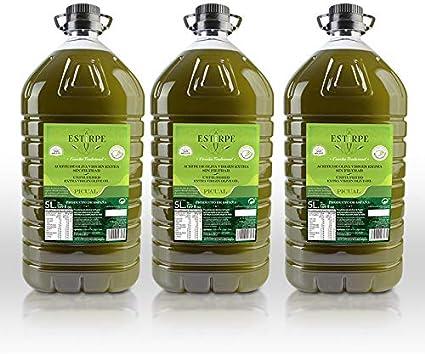 Aceite de Oliva Virgen Extra Premium Estirpe Sin Filtrar -PICUAL- 3 Garrafas de 5 Litros. Nueva Cosecha 2.019/20.