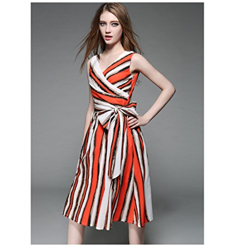 cotyledon V Sleeveless Printed Neck Off Dress Dresses Stripe Shoulder Chiffon PZrxqPwp