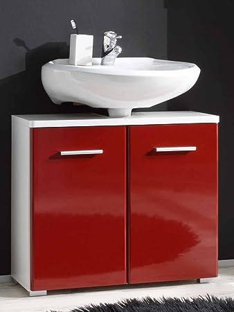 BEGA Badezimmer Waschbecken-Unterschrank in weiß/bordeaux: Amazon.de ...