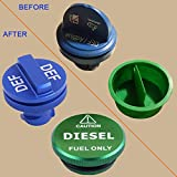 Magnetic Green Diesel Fuel Cap and Blue RAM DEF Cap for 2013-2017 Dodge Ram Diesel Trucks 1500 2500 3500 Fuel Tank Caps DEF Caps Packs