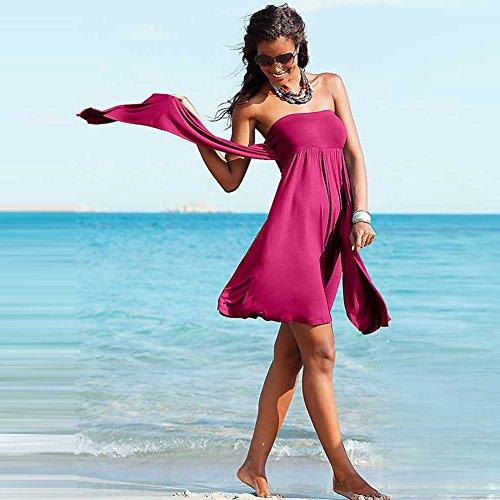 Pinkyee Multy de la mujer Forma extraíble acolchado Convertible playa vestido rosa (b)