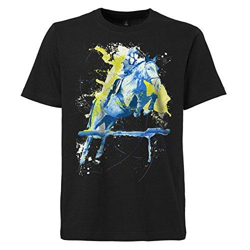 Reitsport schwarzes modernes Herren T-Shirt mit stylischen Aufdruck