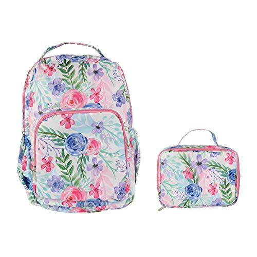 (Flower Fields Soft Pink 18 x 10 Polyester Canvas Backpack and Lunchbox Set)