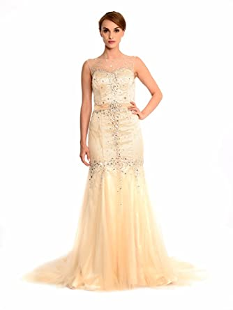 Amadeo Bateau Beading Tulle Mermaid Gold Evening Dresses LF101 (Plus Size 26)