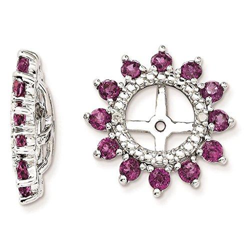 925 Sterling Silver Rhodium-plated Polished & Textured Diamond & Rhodalite Garnet Earring - Rhodalite Earring Garnet