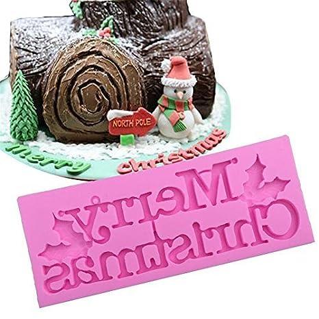 Feliz Navidad Carta de silicona para hornear molde chocolate fondant cake Cupcake de repostería para galletas