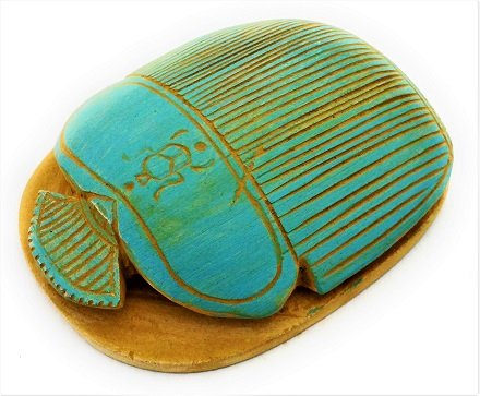Pharaoh Scarab Beetle handmade engraved Hieroglyphics Figurine Natural Luck stone, Made of Sand Stone