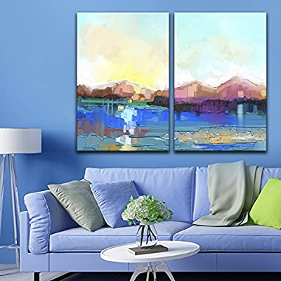 2 Panel Canvas Wall Art - Abstract Oil Painting Style Landscape - Giclee Print Gallery Wrap Modern Home Art Ready to Hang - 16