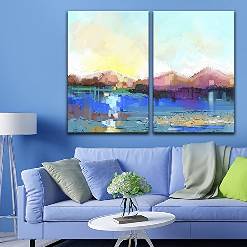 wall26 - 2 Panel Canvas Wall Art - Abstract Oil Painting Style Landscape - Giclee Print Gallery Wrap Modern Home Decor Ready to Hang - 24