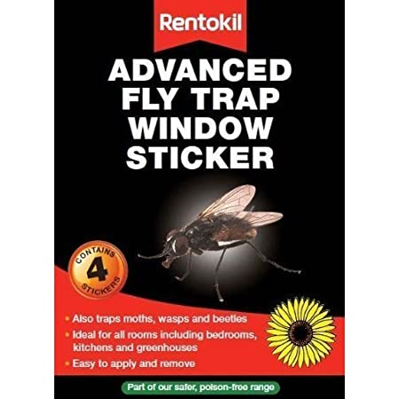 Fly traps window stickers kills flies rentokil fly trap 4 pack for greenhouses