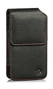 Motorola Droid RAZR MAXX HD Vertical Red Stitched Leather Case Pouch Built In Magnetic Flap and Belt Clip and Soft Interior Material