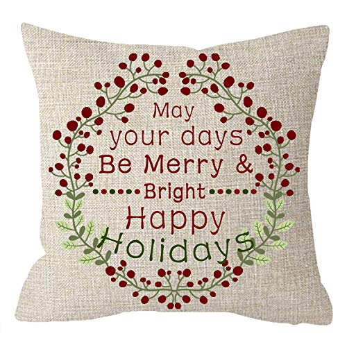 Newhomestyle Throw Pillow Cover Merry May Your Days Be Merry Bright Happy Holidays Christmas Wreath Beige Cotton Home Decor Square Cushion Pillowcase 20x20 in (May Your Days Be Merry And Bright)