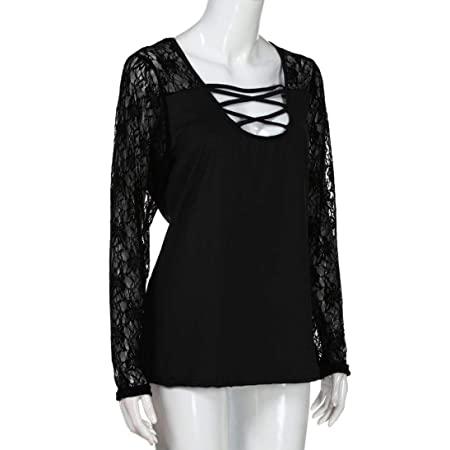 Clearance Women Shirt LuluZanm Large Size Patchwork T-shirt Long Sleeve Tops Lace Blouse: Amazon.com: Grocery & Gourmet Food