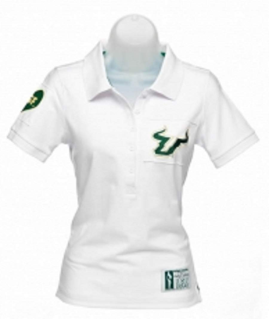 Flying Colors Womens University of South Florida Juniors Collar Scholar Polo,XLarge