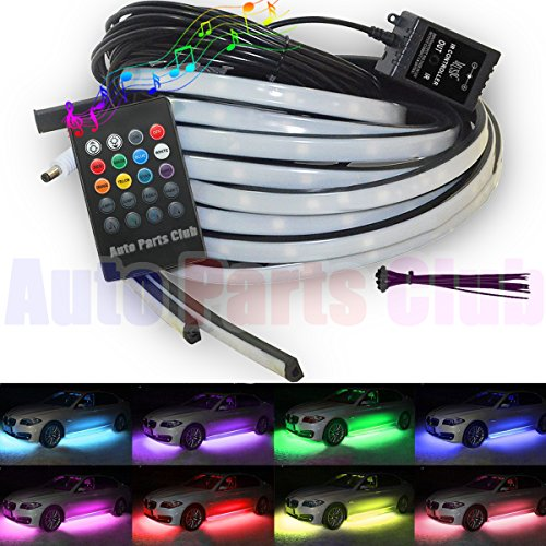 Undercar Light,4Pcs Car High Intensity LED Neon Glow light Atmosphere Decorative Lights Kit Strip,Underbody System Waterproof Tube RGB 8 Color with Sound Active and Wireless Remote Control - Underglow Neon Lights