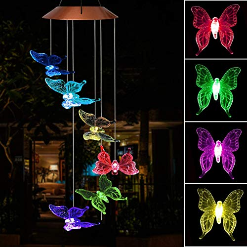 Solar Power Wind Chime Color-Changing Lights Outdoor LED Solar Mobile Waterproof Six Butterflies Solar Powered Wind Chimes for Yard/Home/Party/Night/Garden/Festival Decor/Valentines Gift Decoration