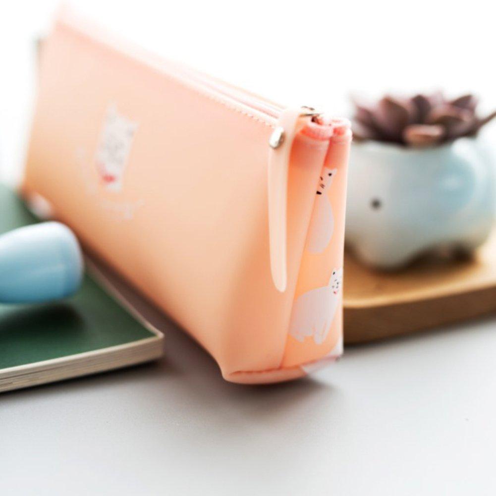 dise/ño de gato azul Pink888 Estuche de silicona para bol/ígrafos