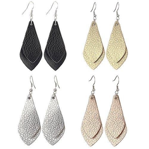 SEVENSTONE 4 Pcs Petal Leather Earrings Teardrop Leaf Drop Lightweight Antique Fashion Earrings