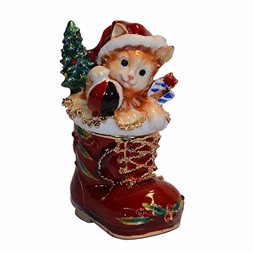 Enamelled Trinket Box (Jeweled Enamelled Christmas Gift Cat Trinket Jewelry Ring Box Collectibles Animal Figurine Decor)
