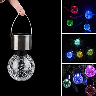 Zehui LED Bulbs Hanging Lights Solar Bulb Crackle Glass Ball Solar Portable Lamp Garden Decoration Colorful No Wiring Easy Installation