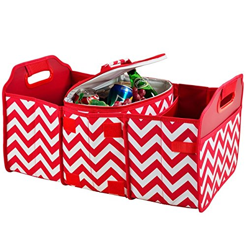 Picnic at Ascot 8014-CR Original Folding Trunk Organizer With Cooler, Red Chevron
