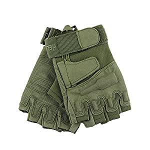 AENMIL Half-finger Fingerless Gloves Nylon Material Protector Safe Breathable Comfortable Unisex for Army Gear Sport Driving Shooting Riding Motorcycle Bicycle (Army Green-L)