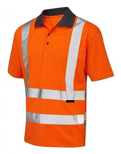 Naranja de alta visibilidad Hi Viz reflectante de manga corta Polo camiseta 7 tamaños