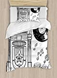 Ambesonne Jukebox Duvet Cover Set Twin Size, Doodle Style Retro Music Box Notes Coins Long Play Vintage Sketchy Artwork, Decorative 2 Piece Bedding Set with 1 Pillow Sham, Black and White