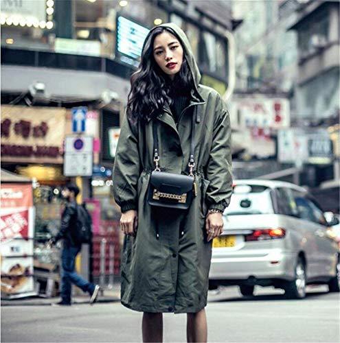 Coat Mantello Grün Primaverile Bobo Estilo Fashion Especial Cappuccio Lunga Casuale 88 Con Donna Eleganti Giacca Autunno Coulisse Outerwear Monocromo Manica zznUSg4