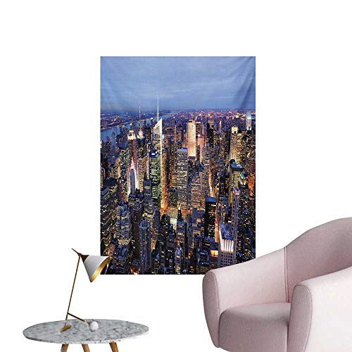 Anzhutwelve New York Wallpaper Aerial View of NYC Full of Skyscrapers Manhattan Times Square Famous Cityscape PanoramaBlue W24 xL32 Space -
