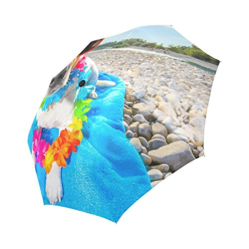 D-Story Jack Russell Dog With Lying On A Blue Towel Windproof Auto-Foldable Travel Rain Umbrella - Russell Golf Towel