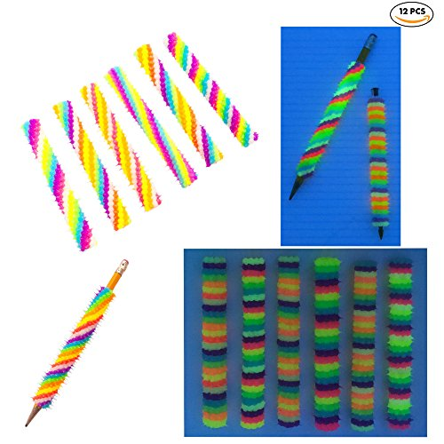 Pencil Grip Silicone Spiky Writing Aid Holder   12 Pack   Handmade   Great Party Favors   USA seller (Spiral/Striped Glow in the Dark)
