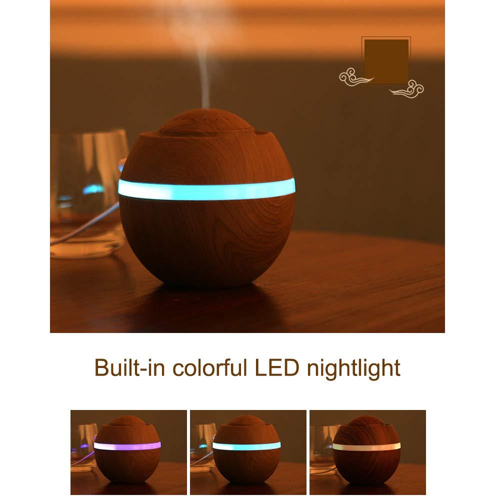 Weehey Mini humidificador de Aire USB Aroma Difusor de Aceite Esencial con 7 LED cambiantes de Color Nighlight para la Oficina en casa