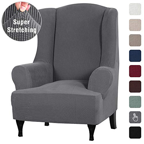 1 Piece Sofa Cover High Stretch Furniture Slipcover Stay in Place Wing Back Armchair Slipcovers, Skid Resistance Polyester Spandex Jacquard Fabric Small Checks (Wing Chair, Charcoal Gray)