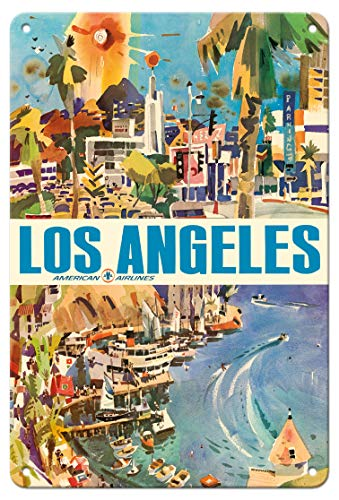 Pacifica Island Art 8in x 12in Vintage Tin Sign - Los Angeles - American Airlines