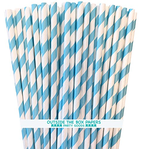 Paper Drinking Straws - Light Blue White - Striped - 7.75 Inches - Pack of 100